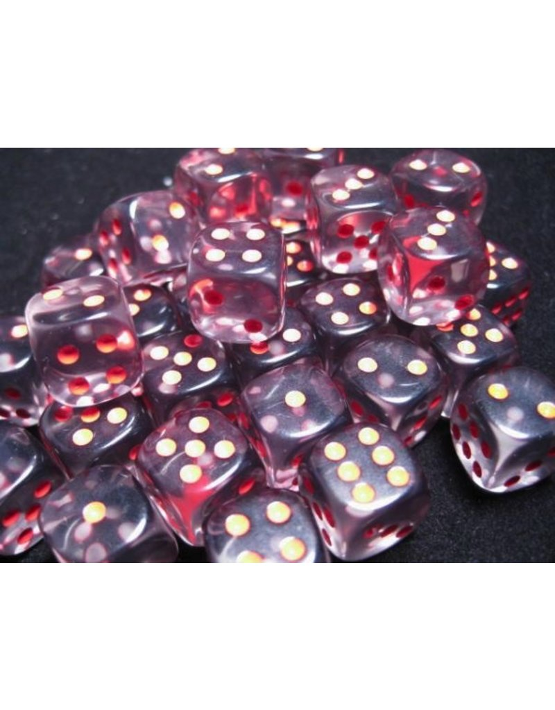 Chessex CHX23818 12mm d6 Translucent Smoke with Red