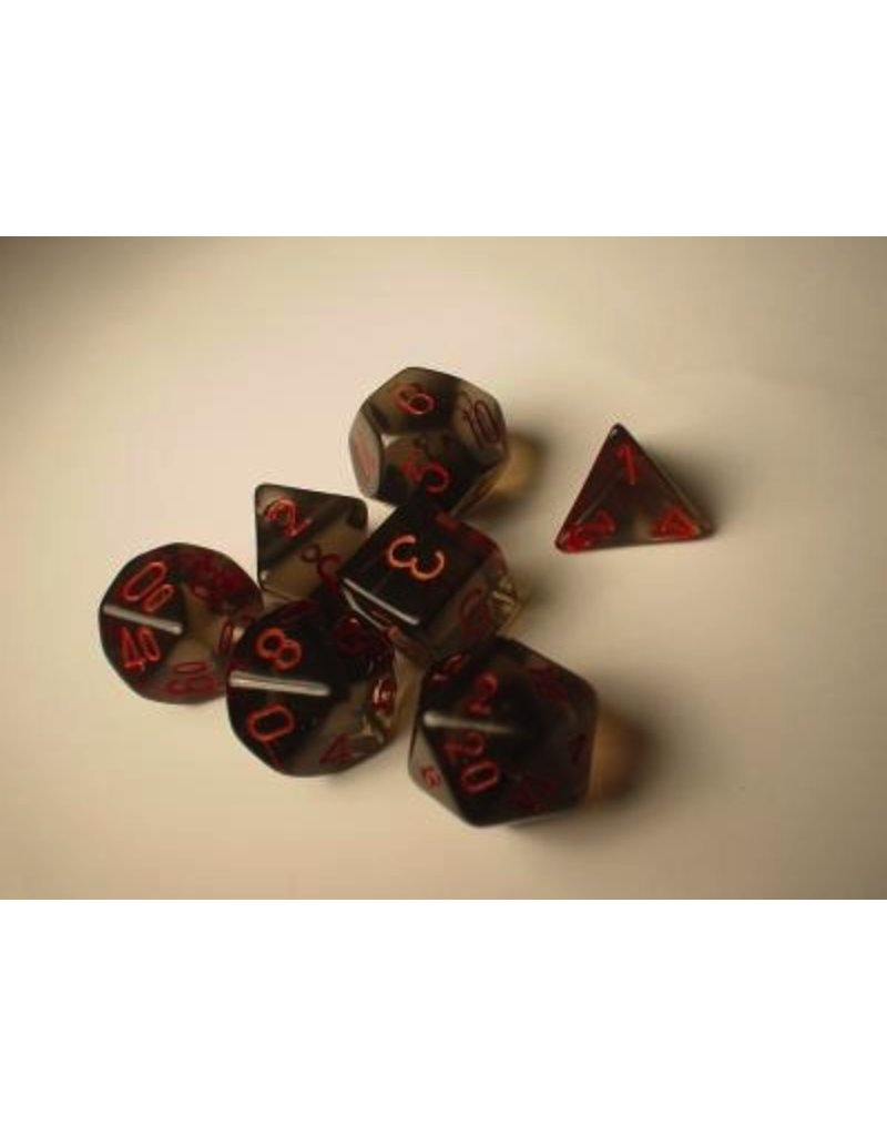 Chessex CHX23018 7 Set Translucent Smoke with Red
