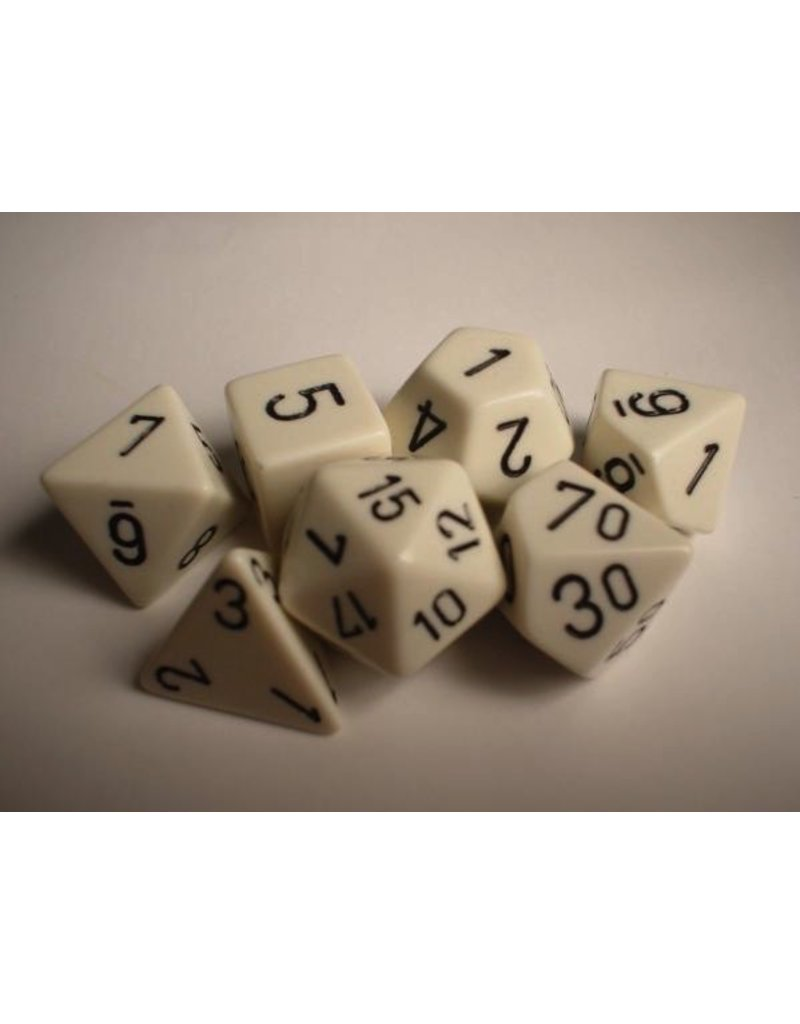 Chessex CHX25401 7 Set Opaque White with Black