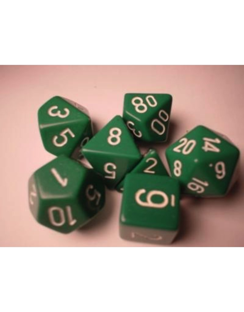 Chessex CHX25405 7 Set Opaque Green with white