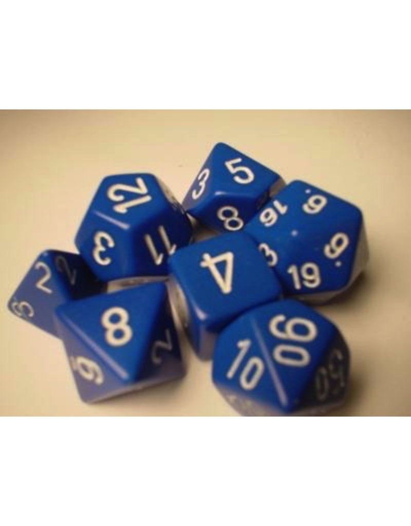 Chessex CHX25406 7 Set Opaque Blue with White
