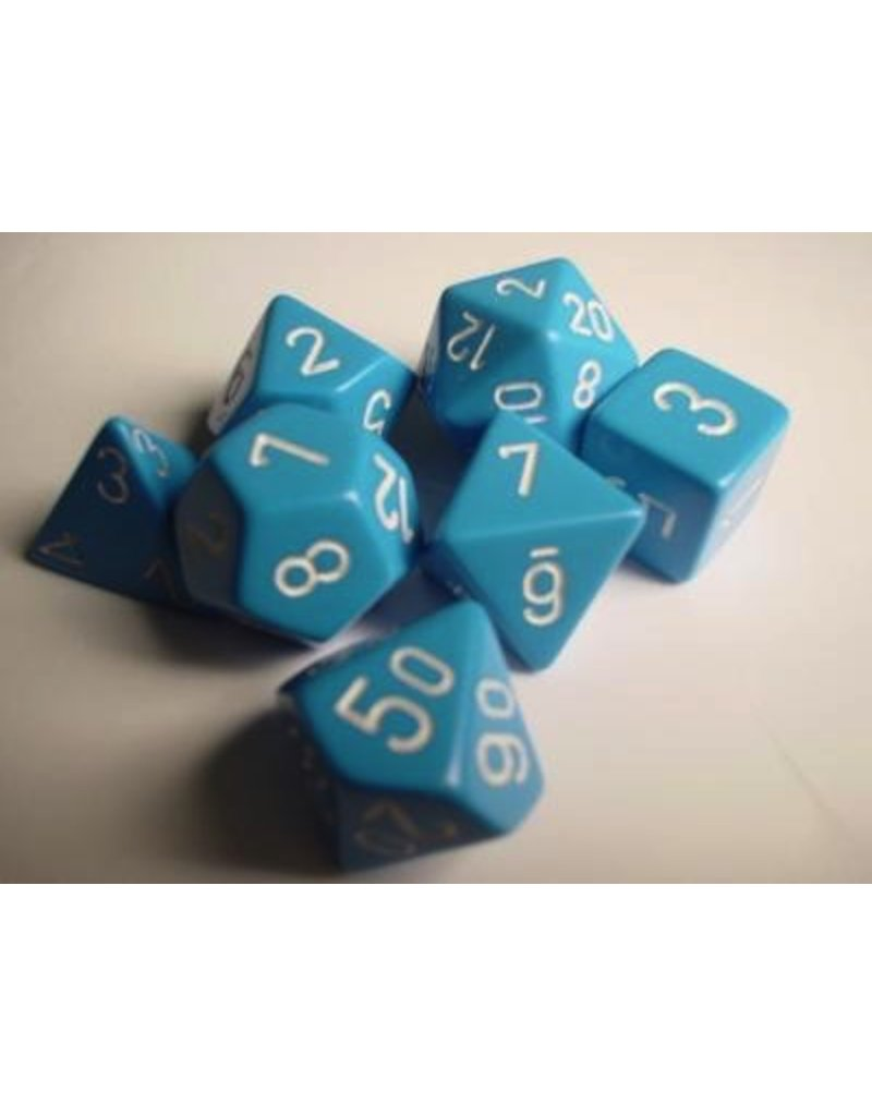 Chessex CHX25416 7 Set Opaque Light Blue with White