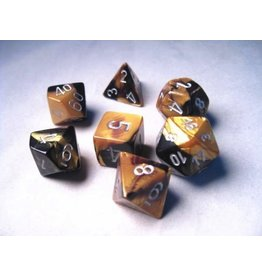 Chessex CHX26451 7 Set Gemini Black-Gold with Silver