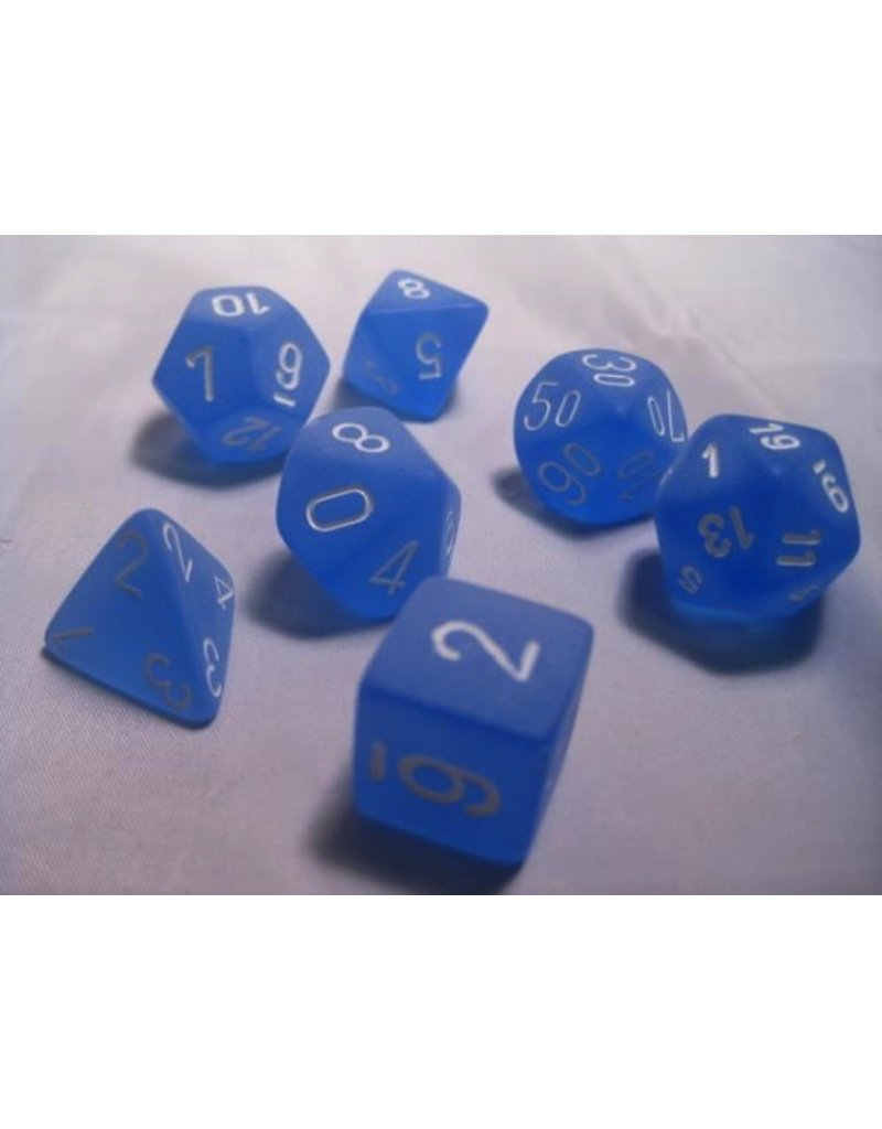 Chessex CHX27406 7 Set Frosted Blue with White