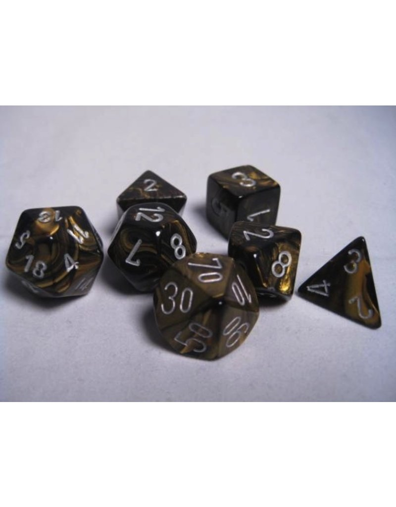 Chessex CHX27418 7 Set Leaf Black-Gold with Silver