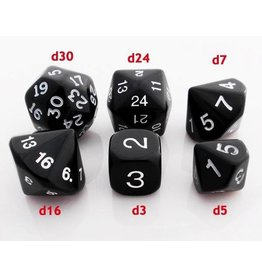 Koplow Who Knew? Black/White Dice Set (d3, d5, d7, d16, d24, d30)