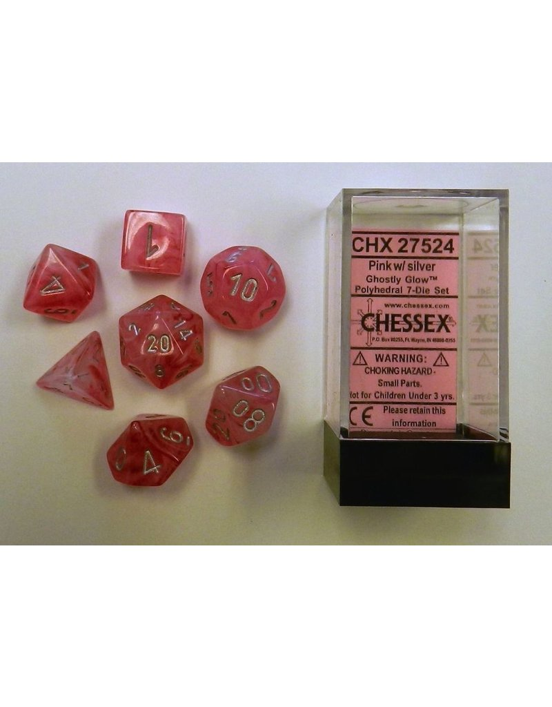 Chessex CHX27524 7 set Ghostly Glow Pink with Silver