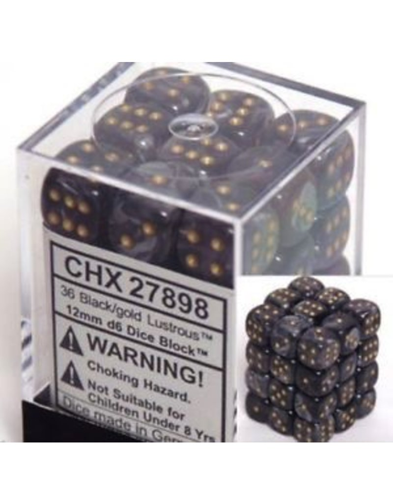 Chessex CHX27898 12mm d6 Lustrous Black with Gold
