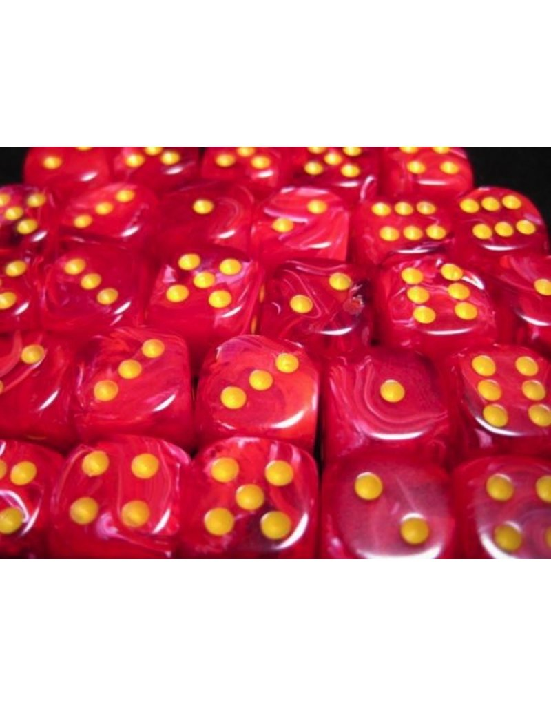 Chessex CHX27844 12mm d6 Vortex Red with Yellow
