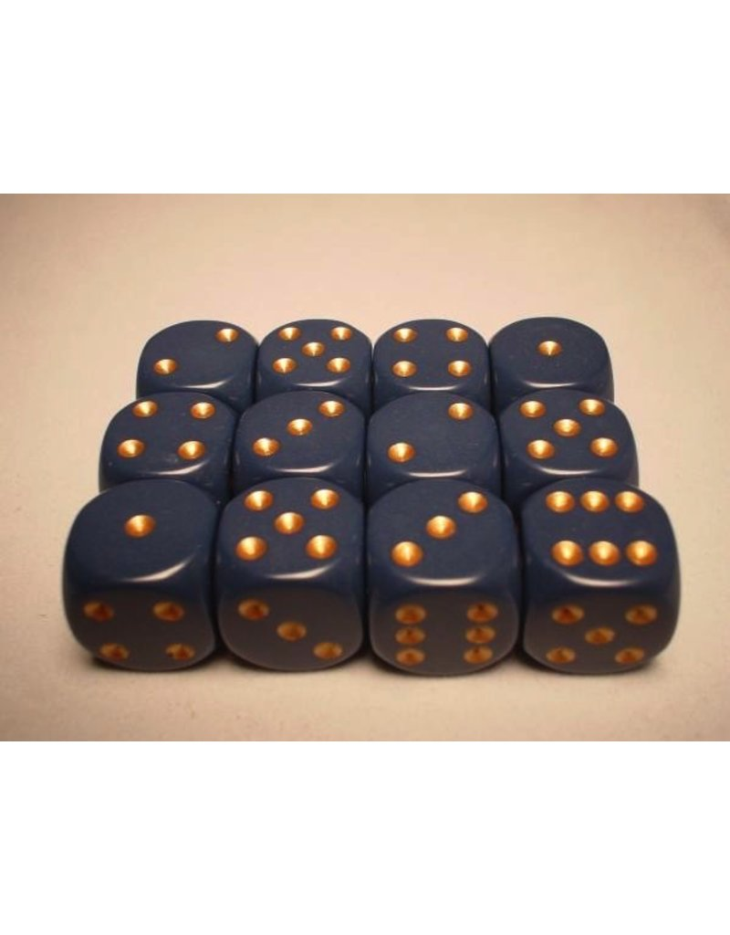 Chessex CHX25626 16mm d6 Opaque Dusty Blue with Gold