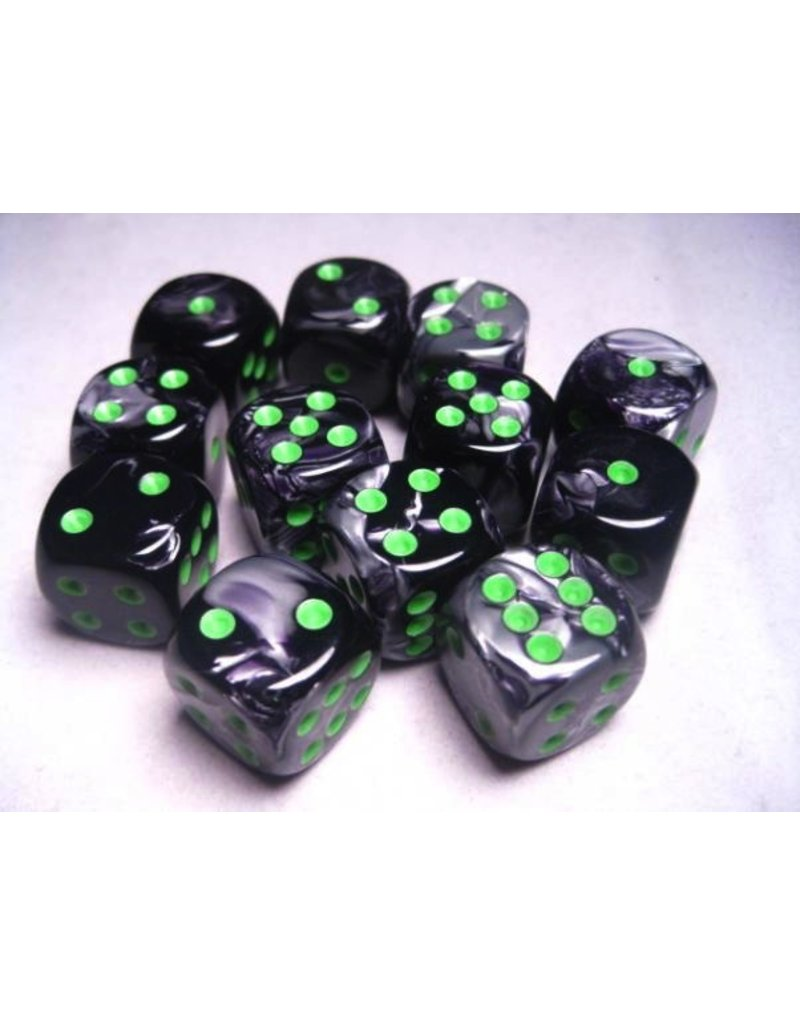Chessex CHX26645 16mm d6 Gemini Black-Grey with Green
