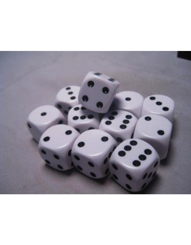 Chessex CHX25601 16mm d6 Opaque White with Black