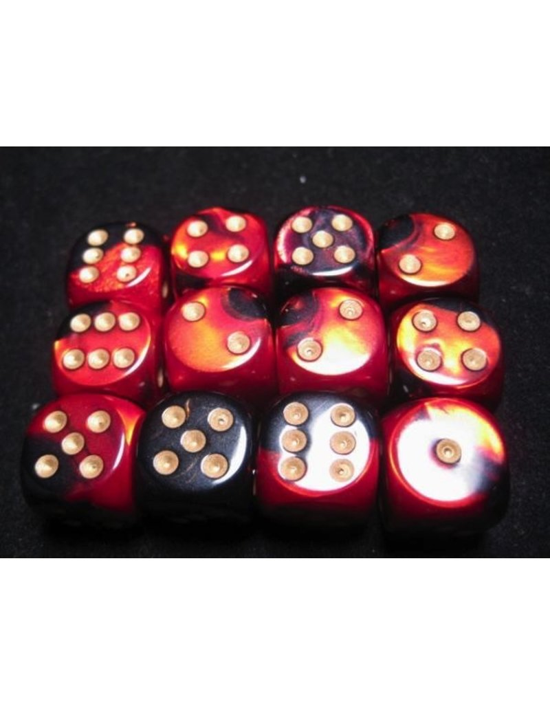 Chessex CHX26633 16mm d6 Gemini Black-Red with Gold