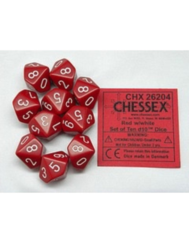 Chessex CHX26204 d10 Opaque Red with White