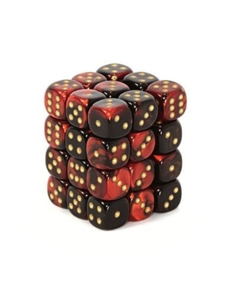 Chessex CHX26833 12mm d6 Gemini Black-Red with Gold