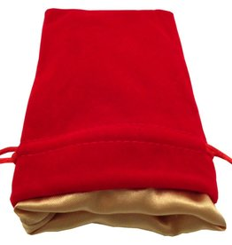 """Metallic Dice Games Red Velvet Dice Bag with Gold Satin Lining (4""""x6"""")"""