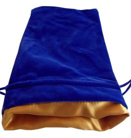 "Metallic Dice Games Blue Velvet Dice Bag with Gold Satin Lining (6""x8"")"
