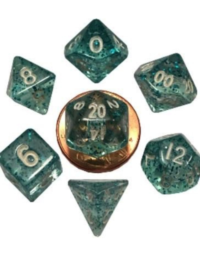Metallic Dice Games 7 Set Mini(10mm) Ethereal Light Blue with White