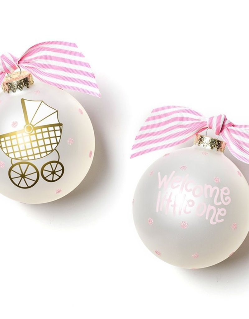 Coton Colors Welcome Little One Carriage Girl 100MM Glass Ornament