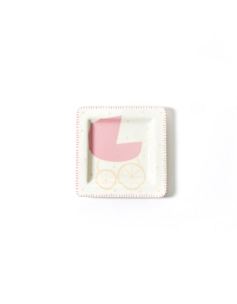 Coton Colors Baby Carriage 7.5 Square Plate Girl