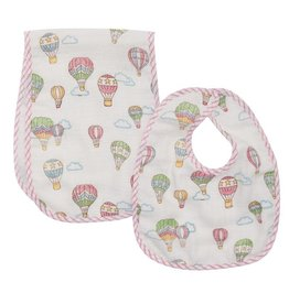 Little English Balloon Muslin Bib & Burb Set
