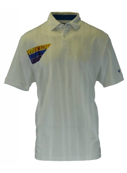 Callaway Callaway Men's Golf Yolk Printed Ribbed Collar Shorts Sleeve Polo Shirt, Large, Bright White