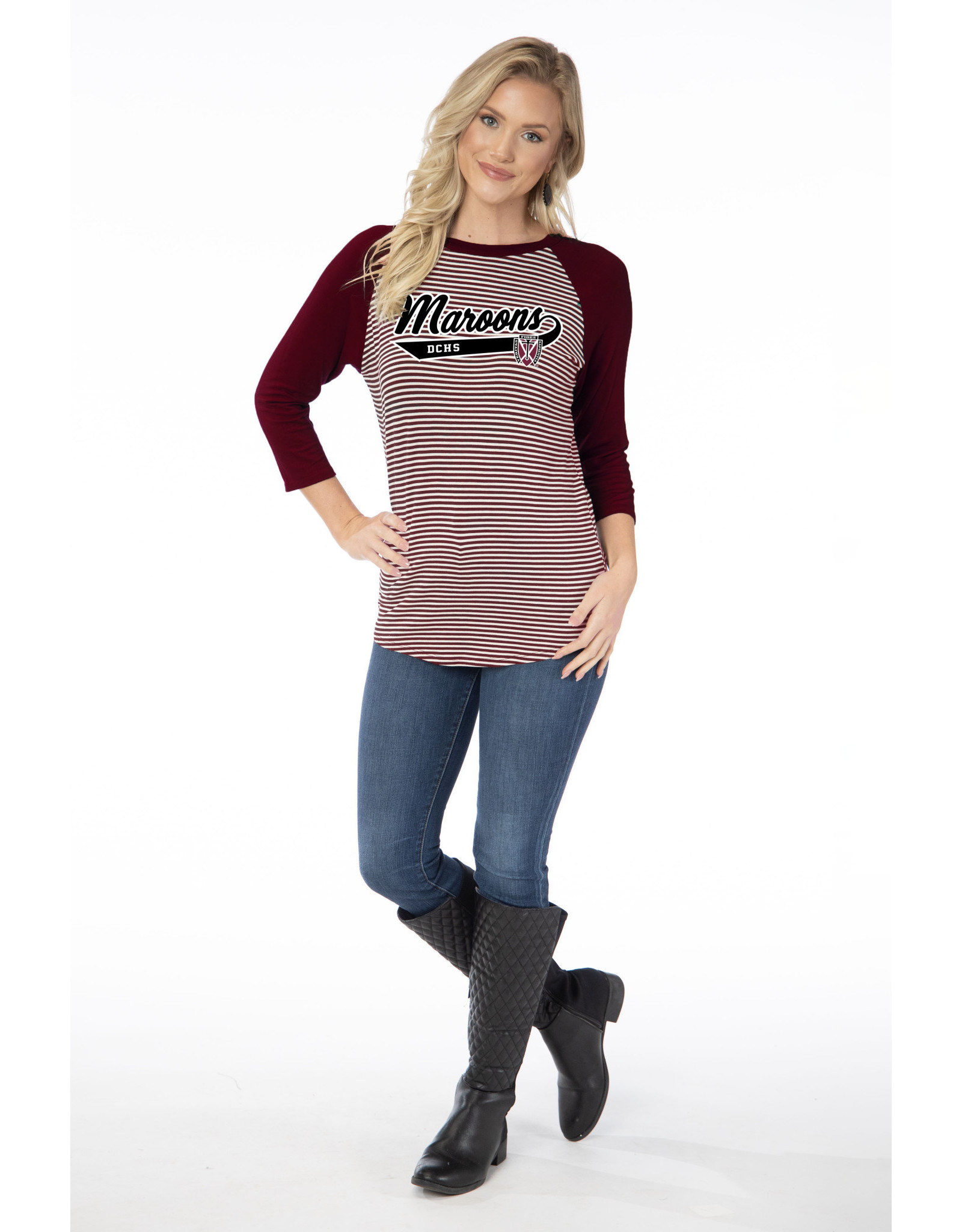 Flying Colors Flying Colors Women's Leah Striped Baseball Tee