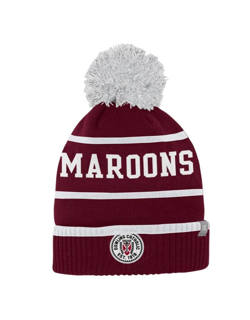 ad984e225cd75 2 Color Unisex Stripe Cuff Beanie with Pom - Dowling Catholic Campus ...