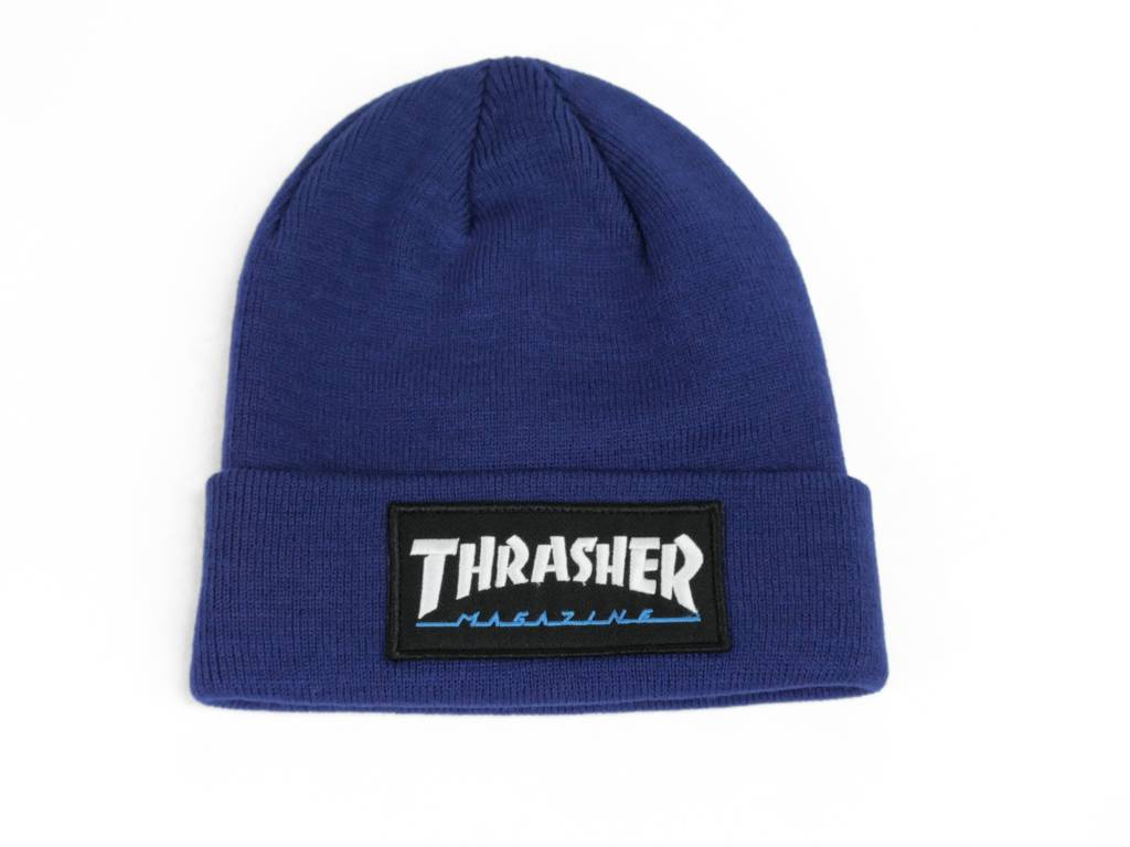 THRASHER THRASHER LOGO PATCH BEANIE BLUE