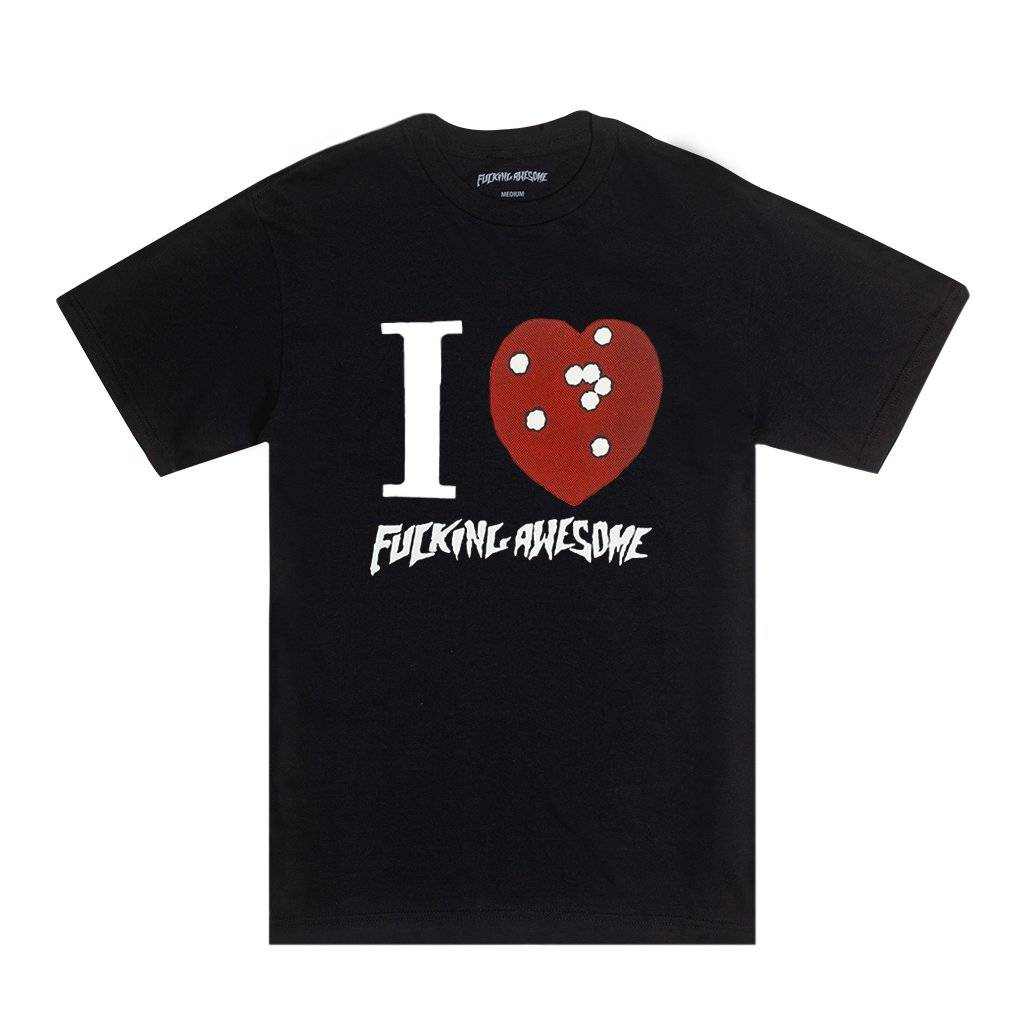 FUCKING AWESOME FUCKING AWESOME I HEART FA TEE BLACK