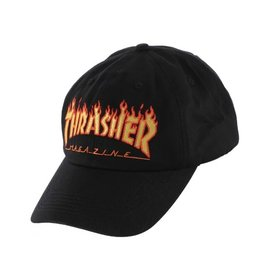 THRASHER THRASHER FLAME LOGO DAD HAT BLACK
