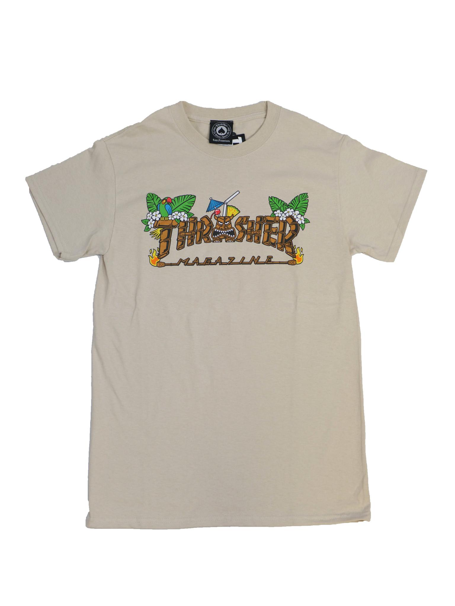 THRASHER THRASHER TIKI LOGO T-SHIRT SAND