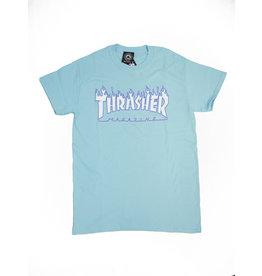 THRASHER THRASHER FLAME LOGO T-SHIRT SKY BLUE
