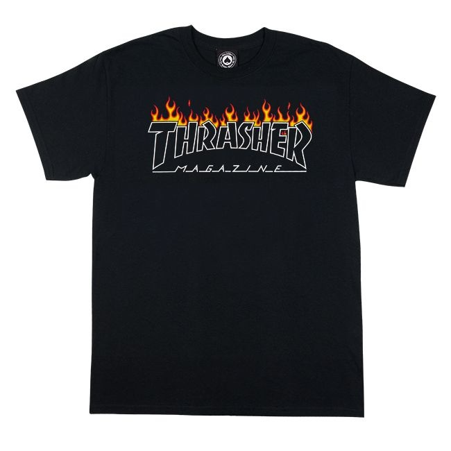 THRASHER THRASHER SCORTHED OUTLINE T-SHIRT BLACK