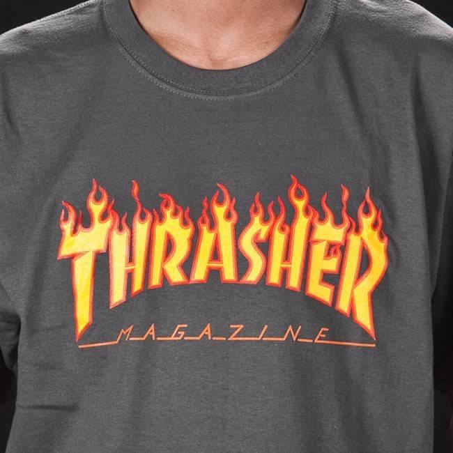 THRASHER THRASHER FLAME LOGO T-SHIRT GREY