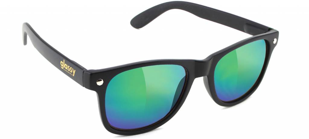 GLASSY GLASSY SUNHATERS LEONARD MATTE BLACK / GREEN MIRROR