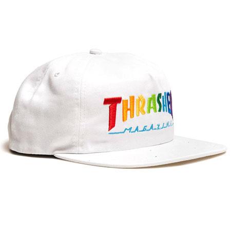THRASHER THRASHER RAINBOW LOGO SNAPBACK WHITE
