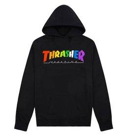 THRASHER THRASHER RAINBOW LOGO HOODIE BLACK