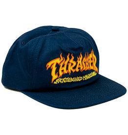 THRASHER THRASHER FIRE LOGO SNAPBACK NAVY
