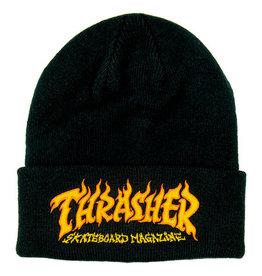 THRASHER THRASHER FIRE LOGO BEANIE BLACK