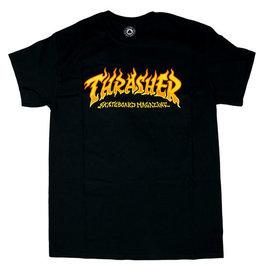 THRASHER THRASHER FIRE LOGO T-SHIRT BLACK