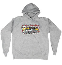 THRASHER THRASHER KRAK SKULLS HOODIE HEATHER GREY