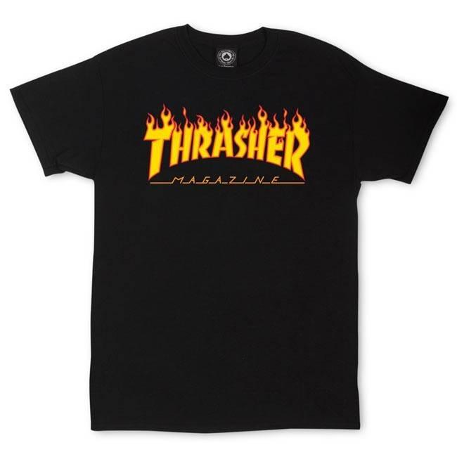 4a91549ca062 THRASHER THRASHER FLAME LOGO T-SHIRT BLACK - Bluetile Skateboards