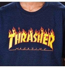 THRASHER THRASHER FLAME LOGO T-SHIRT NAVY
