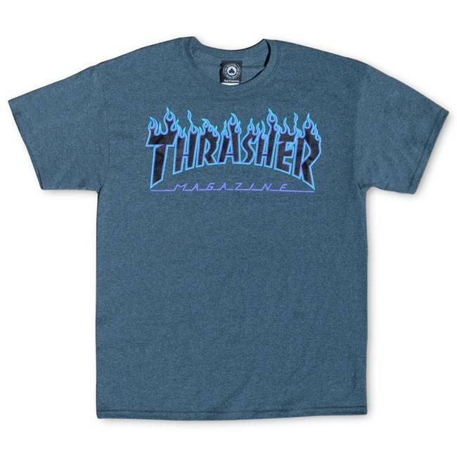 5df26d72500d THRASHER THRASHER FLAME LOGO T-SHIRT PURPLE   DARK HEATHER - Bluetile  Skateboards