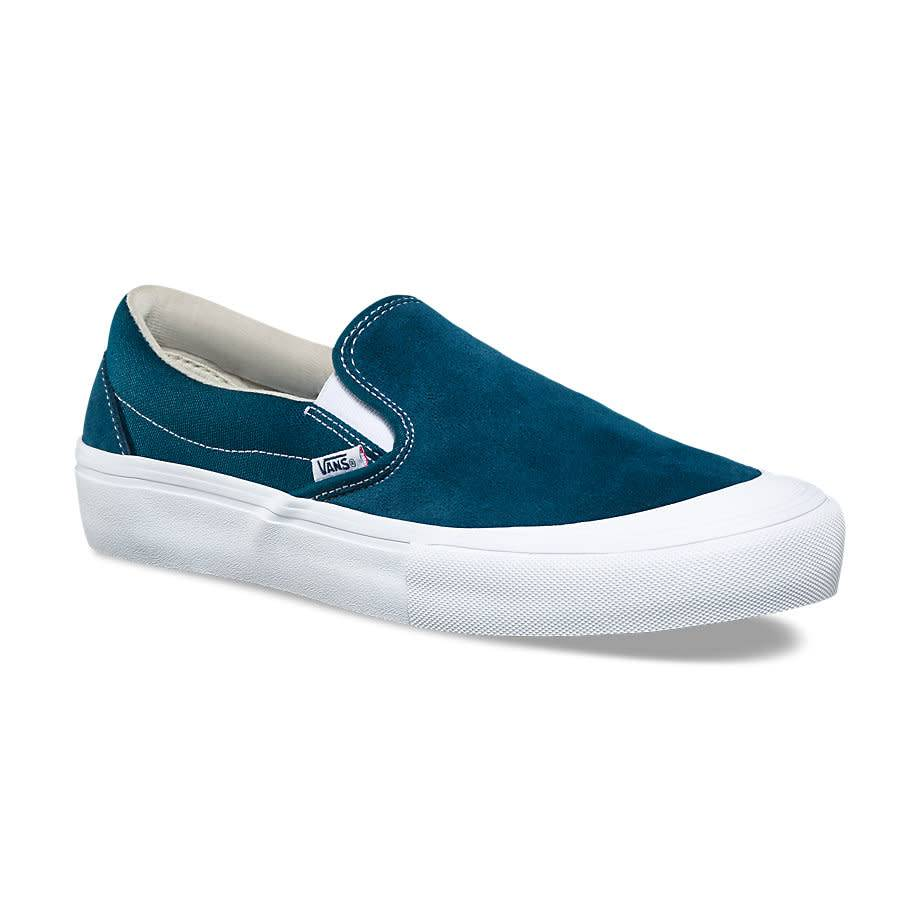 VANS SLIP ON PRO (TOE CAP) REFLECTING POND   WHITE - Bluetile Skateboards b0b88fdb1