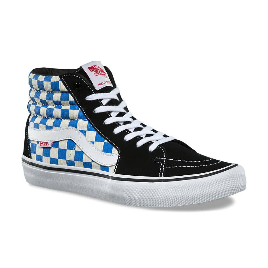 2b112896c7 VANS SK8-HI PRO CHECKERBOARD BLACK   VICTORIA BLUE - Bluetile Skateboards