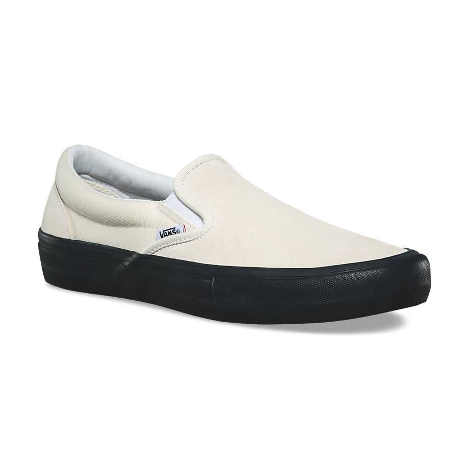 VANS SUEDE SLIP ON PRO CLASSIC WHITE   BLACK - Bluetile Skateboards 3222fb2fd623