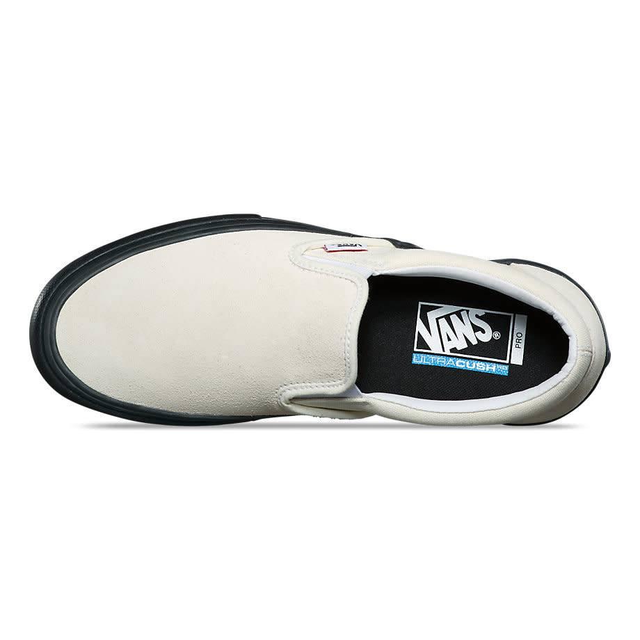 aea9e7b8f9 VANS SUEDE SLIP ON PRO CLASSIC WHITE   BLACK - Bluetile Skateboards