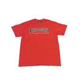 THRASHER THRASHER OUTLINED T-SHIRT RED